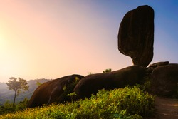 Nature balanced rock during morning time at the Hinpad mountain view, Suratthani South of  Thailand.