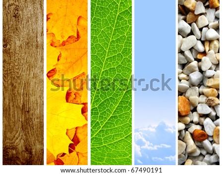 Nature banners - texture leaf, pebble, sky and wood