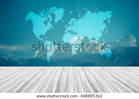 Nature cloudscape with blue sky and white cloud with Wood terrace and world map , process in vintage style (Outline elements of world map image from NASA public domain)