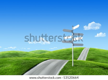 Nature collection - Road across the meadow with roadsign