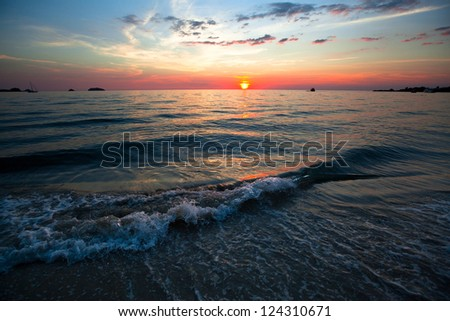 Nature composition - Sunset over ocean.