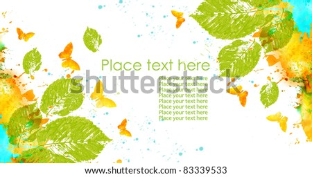 Nature  design. Leaves, butterflies and abstract spots hand drawn watercolor, isolated on a white background
