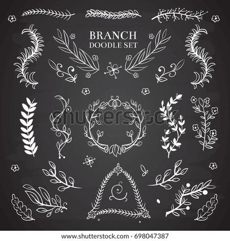 Nature floral doodle elements, vintage wedding branch wreaths on blackboard. Decoration branch wreath, illustration of floral branch on chalkboard