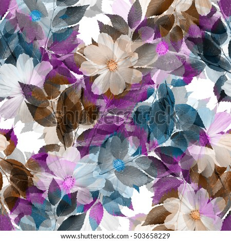 Nature flowers and leaves seamless pattern background .Realistic photo collage - clip art. Layer effect