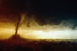 Nature force background - dark stormy sky, huge tornado hits small town