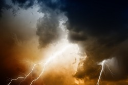 Nature force background - lightnings in stormy sky with dark clouds and rain