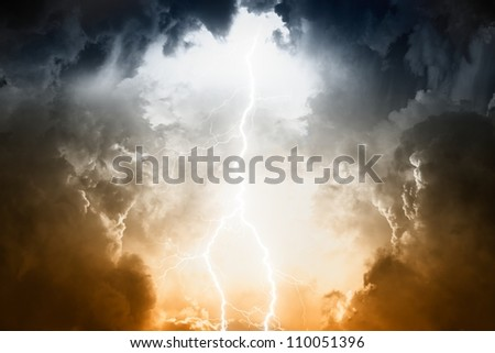 Nature force background - lightnings in stormy sky with dark clouds and rain #110051396