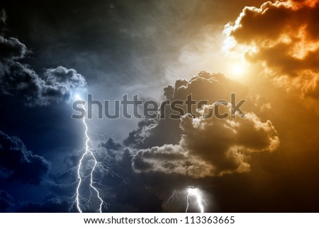 Nature force background - lightnings in sunset sky with dark clouds and rain