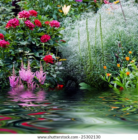 Nature garden with flowers, rose, lily, ets