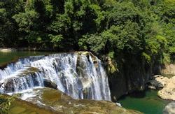 Nature healing paradise landscape- Shifen waterfall, Taiwan.