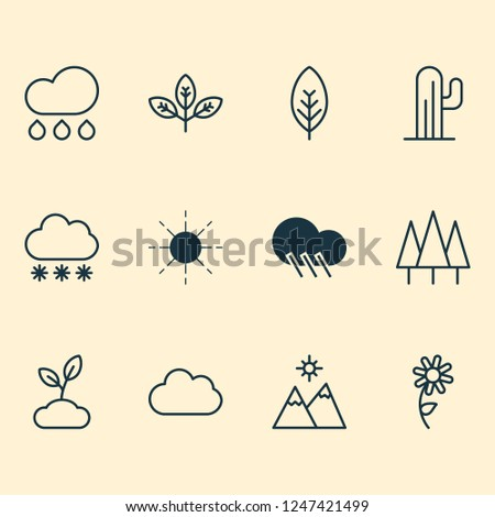 Nature icons set with daisy, overcast, wood and other rain elements. Isolated  illustration nature icons.