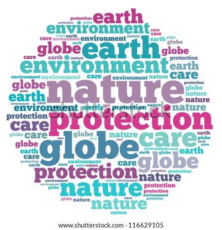 nature info-text graphics and arrangement concept on white background (word cloud)