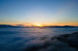 Nature landscape Aerial view drone. Mist landscape view point in south Thailand. Andaman Mist landscape view point. Amazing Mist landscape over mountain. At Khao Khai Nui, Phang Nga, Thailand.