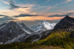 Nature landscape image, Doacheng Yading National park, Sichuan, China. Last Shangri-la hight 4,600 meter from sea level. It's beutiful place field, Snow mountain, Lake and very cold weather