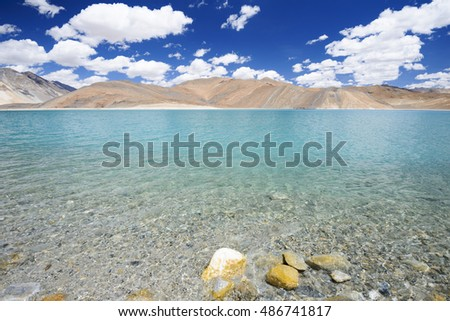 Nature Landscape, Nature, Landscape, nature landscape, nature, landscape, nature, landscape, Pangong Lake with mountain and blue sky, Leh Ladakh #486741817