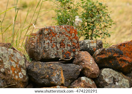 Nature landscape with big stones in the foreground, Armenia #474220291