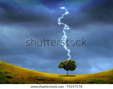 nature landscape with thunderstorm and lighting on the background