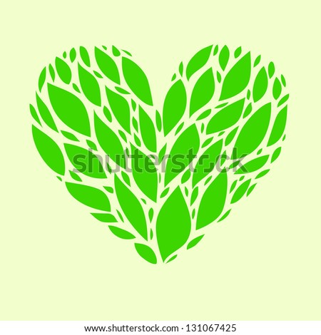 Nature lover green spring leaves floral heart card. Raster illustration, vector file also available.