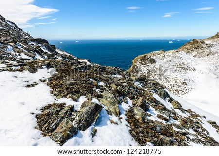 Nature, mountain, snow, sky, ocean of South Georgia, British overseas territory, Southern Atlantic Ocean.