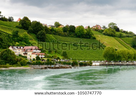 Nature of the Lake Constance of Meersburg, a town of Baden-Wurttemberg in Germany at Lake Constance.