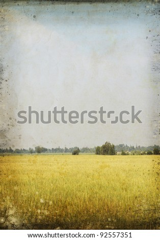 nature painting on old grunge paper ,retro background
