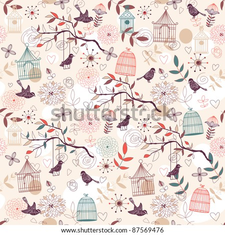 Nature Pattern with birds, birdcages, plants, flowers.
