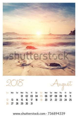 Nature photo calendar with beautiful minimalist landscape 2018. August