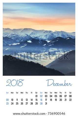Nature photo calendar with beautiful minimalist landscape 2018. December
