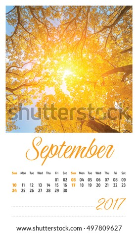 Nature photo calendar with beautiful minimalist landscape 2017. September