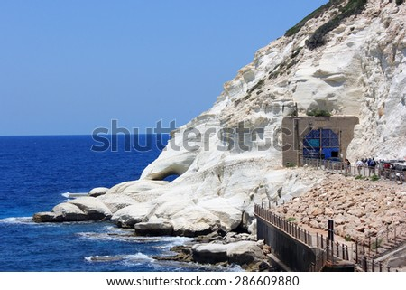 nature reserve Rosh HaNikra is a geologic formation in Israel, located on the coast of the Mediterranean Sea, in the Western Galilee near the border with Lebanon #286609880