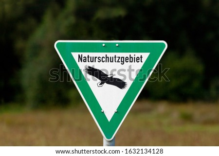 Nature reserve sign in germany text translation 'nature reserve' Stock photo ©