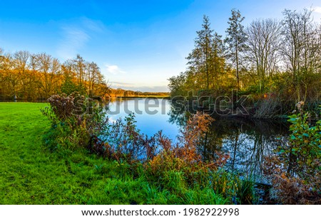 Nature river in great outdoors. River outdoors landscape