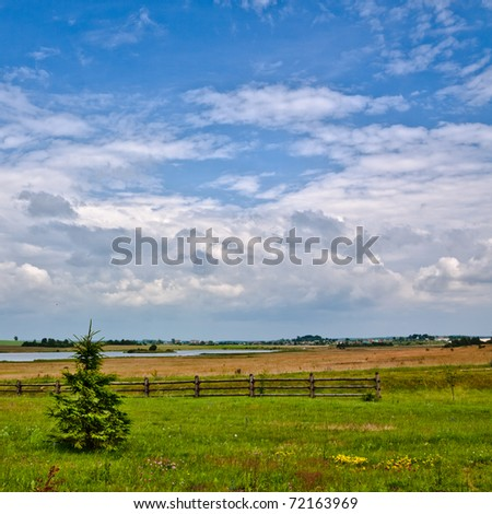 nature rural landscape at sunny summer day - stock photo