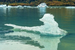 Nature's ice sculpture, Mendenhall Glacier and Lake in Juneau, Alaska, USA in September 2010.