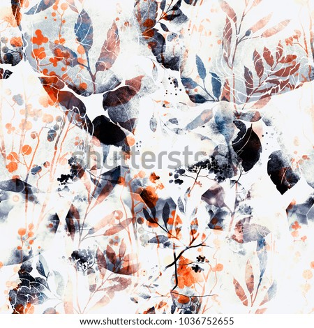 nature's magic: imprints abstract flowers and leaves mix repeat seamless pattern. watercolor and digital hand drawn picture. mixed media artwork. background for textile decor and design
