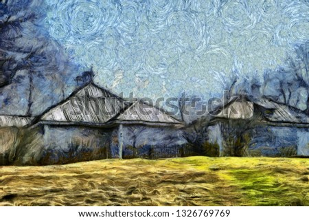 Nature scene landscape and village houses. Impressionism oil painting  style. Wall art. Creative artistic print for canvas or textile. Wallpaper, poster or postcard design.
