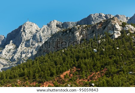 Nature scenery with Saint Victoire mountain near Aix en Provence town, South France - stock photo