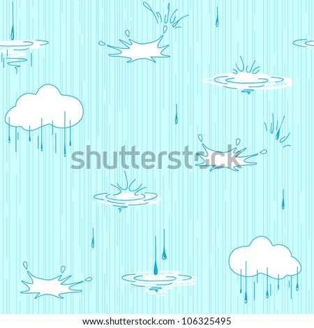 Nature Seamless Pattern Background With Silhouettes. Blue. Rain.