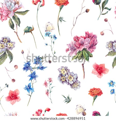 Nature seamless watercolor background with summer garden flowers, floral watercolor botanical illustration on white, Flower natural digital paper