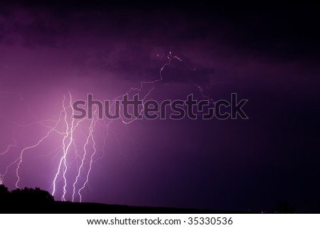 nature series: night thunderstorm with thunderbolt in sky