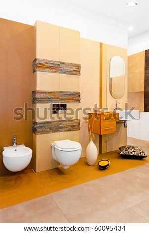Nature style marble bathroom in earth colours