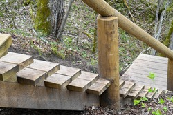 Nature trails wooden stairs close-up in the woods leading down from the hill in the spring.