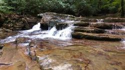 nature trees waterfall sea rocks