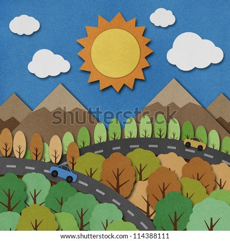 Nature view recycled papercraft Background