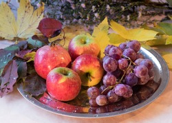 Naturemort with fruits and flowers of autumn:  apples, pomegranate, grapes