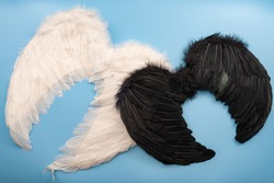 Naughty and nice, Christian mythology and the struggle between good and evil concept with photograph of white wings representing an angle and black wing for a demon isolated of blue background