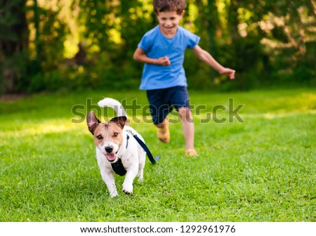 Naughty dog with leash on ground running from his handler
