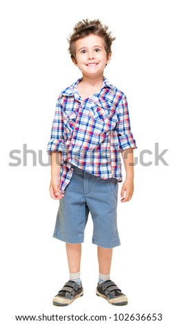 Naughty hairy little boy in shorts and shirt isolated on white