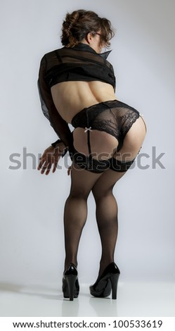 Naughty schoolteacher in black lingerie