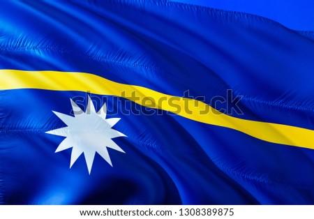 Nauru flag. 3D Waving flag design. The national symbol of Nauru, 3D rendering. National colors and National flag of Nauru for a background. Oceania sign on smooth silk